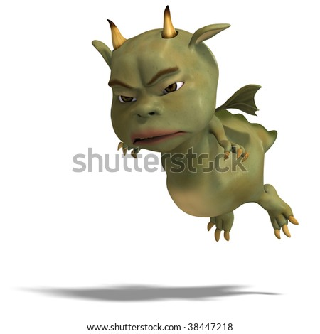 3D rendering of a little green cute toon dragon devil with clipping path and shadow over white - stock photo