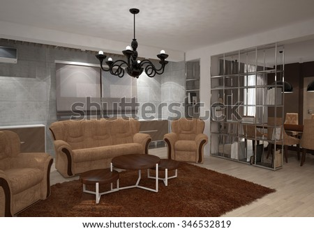 3d rendering of a living room interior design - stock photo