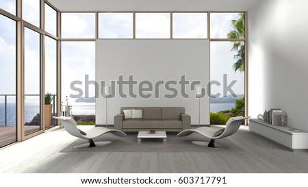 3d Rendering Living Room Glass Front Stock Illustration 603717791 ...