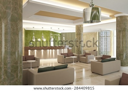 3d rendering of a lobby bar interior design