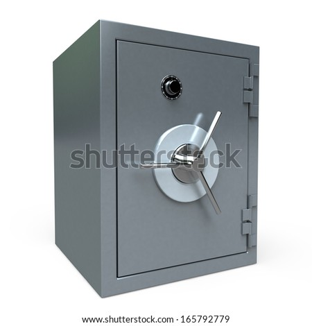 3D rendering of a locked  safe deposit box