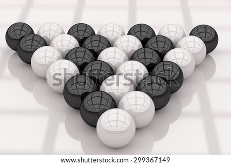 3d rendering of a lot of black and white colored balls - stock photo