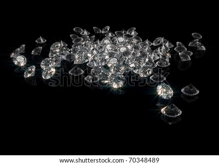 3d rendering of a lot of sparkling diamonds isolated on black - stock photo