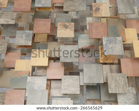 3d rendering of a lot of stones tiles - stock photo