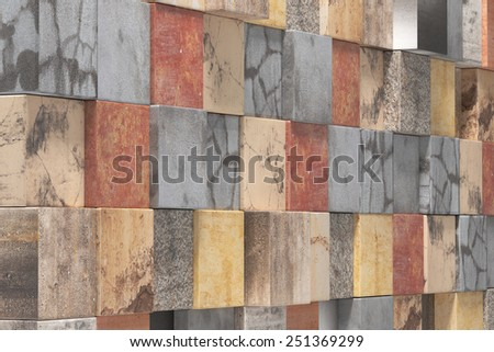 3d rendering of a lot of textured stones cubes wall - stock photo