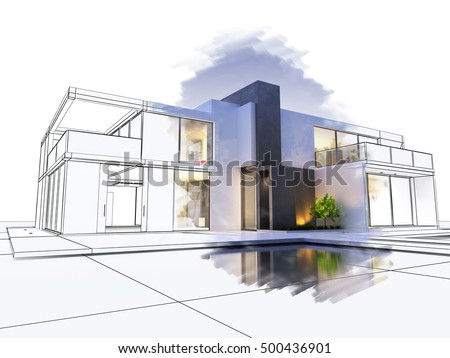 Villa on living room house plan