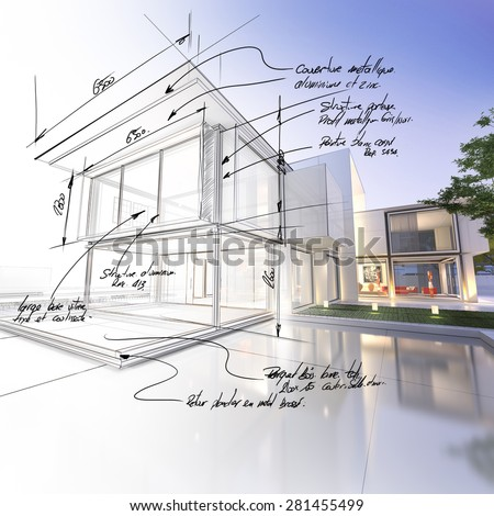 3D rendering of a luxurious villa contrasting with a technical draft part. The writtings are indicating construction materials: stone, aluminum and steel and technical measurements - stock photo