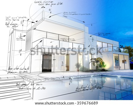 3D rendering of a luxurious villa with contrasting realistic rendering and wireframe and notes - stock photo