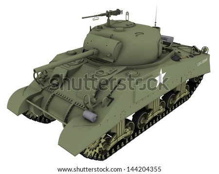3d Rendering of a M4A4 Sherman Tank - stock photo