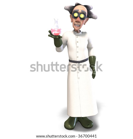 3D rendering of a mad scientist with dangerous fluid with clipping path and shadow over white - stock photo