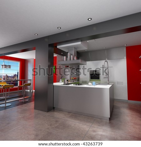 3D rendering of a magnificent  red and grey kitchen with breathtaking view
