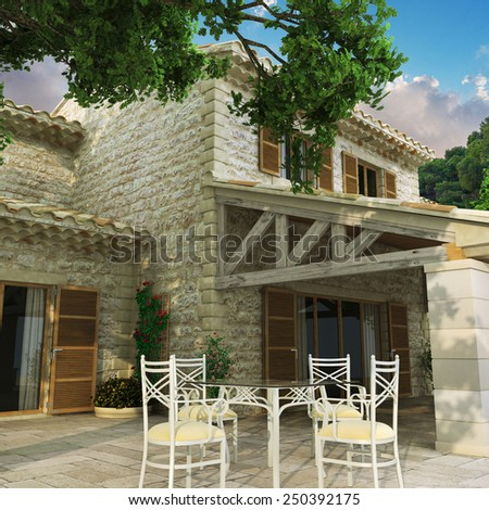 3D rendering of a magnificent villa with huge beautiful front yard - stock photo
