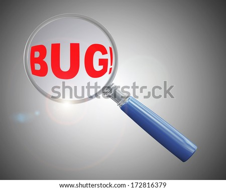 3d rendering of a magnifying glass hovering and focus over word bug - stock photo
