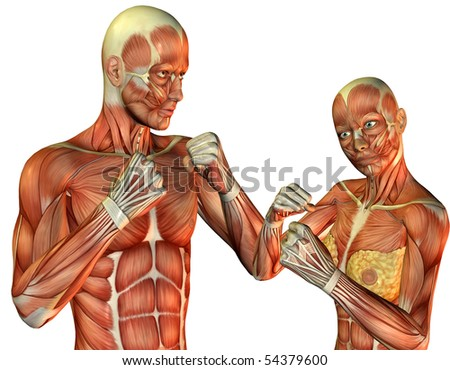 3D rendering of a man and a woman pose in a fighter - stock photo