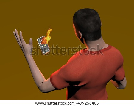 3d rendering of a man dropping a burning cell phone