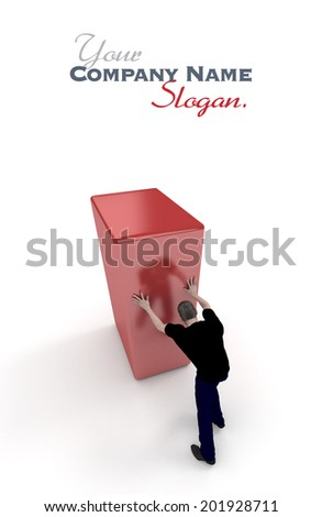 3D rendering of a man in black pushing a red block - stock photo