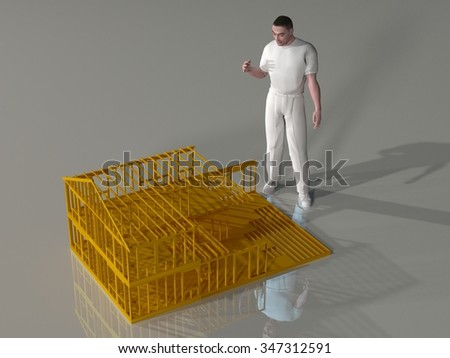 3d rendering of a man standing over the framework of a large doll house - stock photo