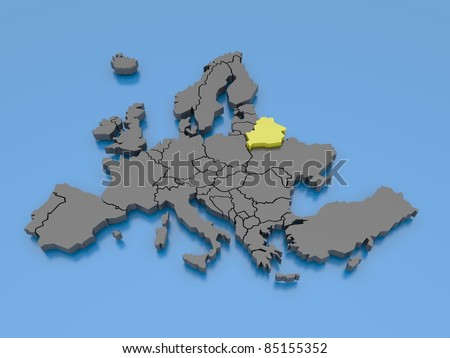 3d rendering of a map of Europe - Belarus