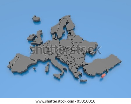 3d rendering of a map of Europe - Cyprus - stock photo