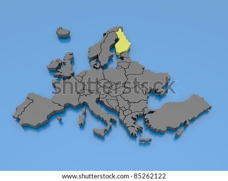 3d rendering of a map of Europe - Finland - stock photo