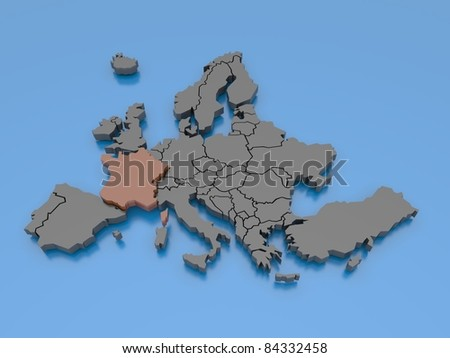 3d rendering of a map of Europe - France - stock photo