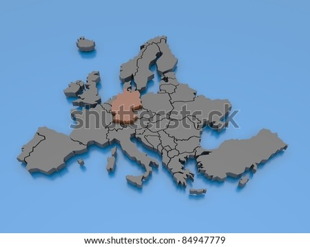 3d rendering of a map of Europe - Germany - stock photo