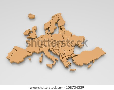 3d rendering of a map of Europe in Orange
