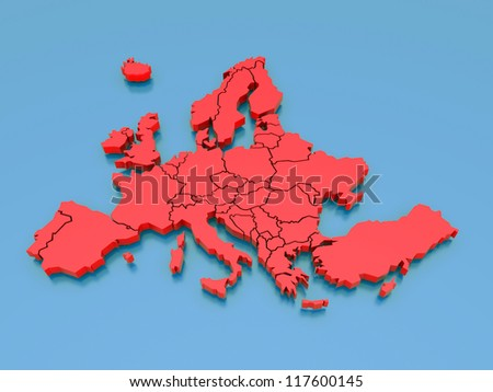 3d rendering of a map of Europe in Red - stock photo