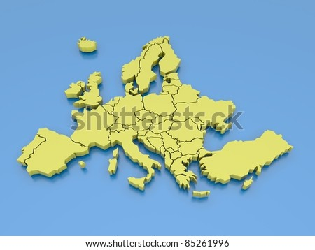 3d rendering of a map of Europe in Yellow - stock photo