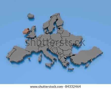 3d rendering of a map of Europe - Ireland