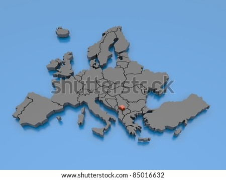 3d rendering of a map of Europe - Kosovo