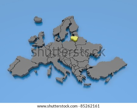 3d rendering of a map of Europe - Lithuania - stock photo