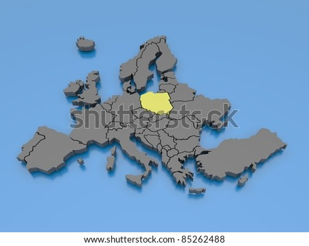 3d rendering of a map of Europe - Poland - stock photo