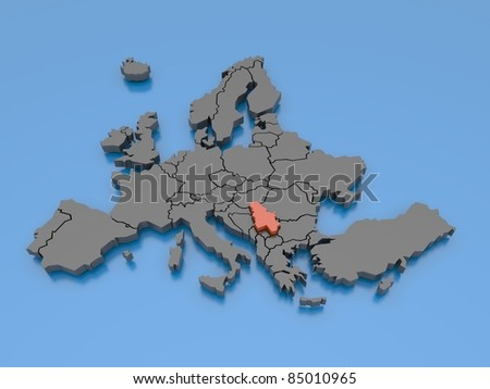 3d rendering of a map of Europe - Serbia - stock photo