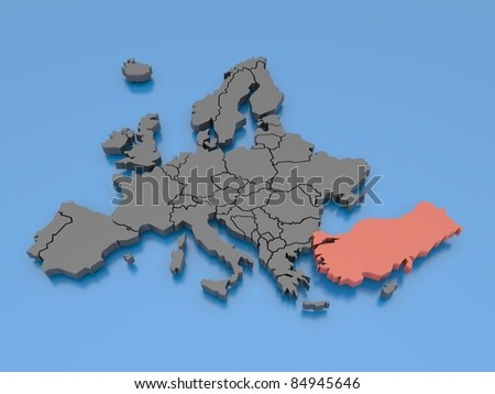 3d rendering of a map of Europe - Turkey - stock photo