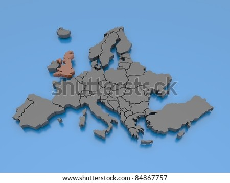 3d rendering of a map of Europe - United Kingdom - stock photo