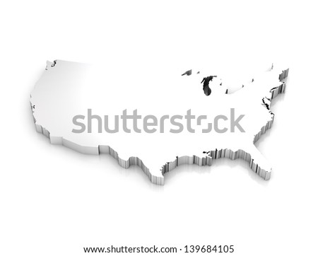 3d rendering of a map of USA - stock photo