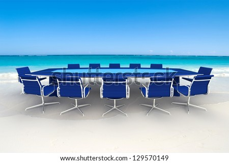 3D rendering  of a Meeting table and chairs in the water of a Caribbean beach - stock photo