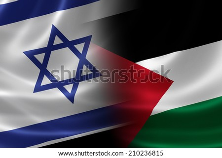3D rendering of a merged Israeli-Palestinian flag on satin texture. - stock photo