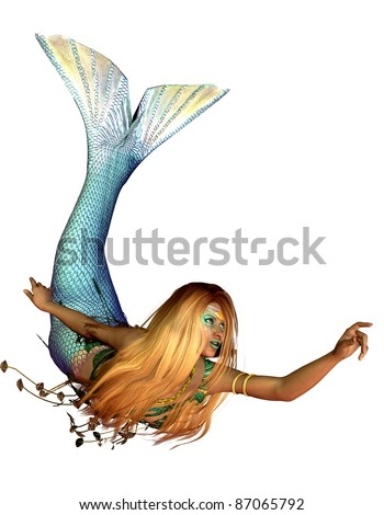 3d rendering of a mermaid in a swimming pose illustration - stock photo