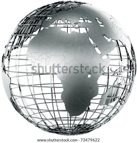 3d rendering of a metal globe showing Africa - stock photo