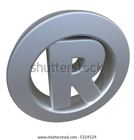 3D rendering of a metallic Registered symbol - stock photo