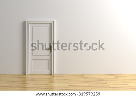 3d rendering of a minimalism room with a door