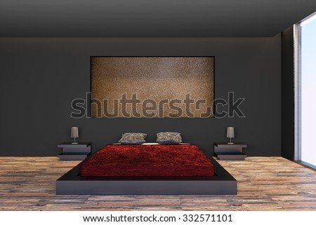 3d rendering of a modern and minimalism bedroom - stock photo