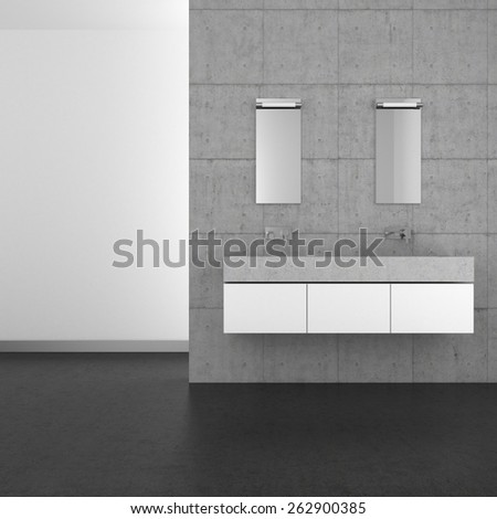 3D rendering of a modern bathroom with double basin concrete wall and dark floor - stock photo