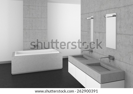 3D rendering of a modern bathroom with double basin concrete wall and dark floor