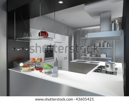 3D rendering of a modern industrial kitchen island