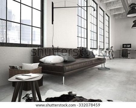 3d rendering of a modern industrial style loft - stock photo