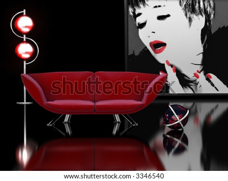 3D rendering of a modern interior. - stock photo