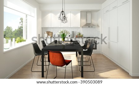 3D rendering of a modern light colored kitchen